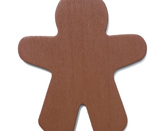 25 Brown Wood Gingerbread Man Cut-Outs - 3 7/8 Inch Ready to Embellish for Holiday Crafts