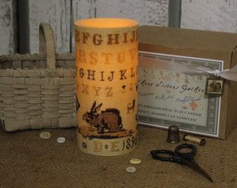 "Antique 19th C. Rabbit Cat Cross Stitch Sampler Image on 6"" Flameless LED Pillar Candle - Night Light w/Timer"