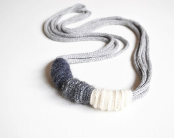 Statement fiber necklace, luxury fiber jewelry, knit cashmere necklace, textile necklace, fall fiber jewelry, fashion jewelry, gift for her