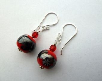 handmade red and grey sterling silver lampwork earrings uk