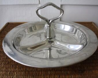 Vintage pewter tray, pewter serving tray, metal serving tray, pewter tray