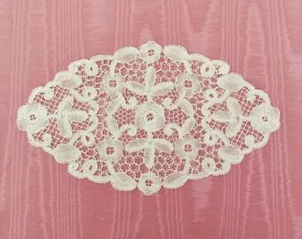 Vintage bobbin lace doily, c.1920's hand made Bloemwerk lace doily, oval ecru doily