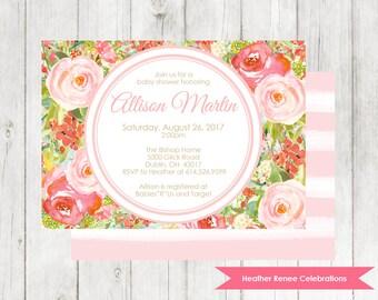 Pink Floral Baby Shower Invitation | Garden Baby Shower Invite | Printable Baby Sprinkle Invitation