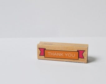 Rubber Stamp Wood Mounted Thank You Banner Stamp Scrapbooking Stamp Thank You Stamp
