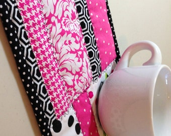 French Rose Black/Pink Polka Dot Fabric Indoor/Outdoor/Breakfast Coaster/Mug Mat/Mug Rug