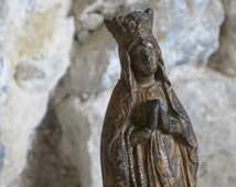 Religious statue small French statuette of the Virgin Mary, souvenir from Lourdes