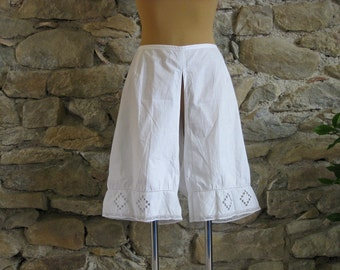French bloomers, antique French undergarment with delicate lace and embroidery