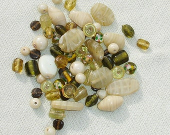 Glass Bead Lot-  40+ pcs - Jewelry Making Supplies