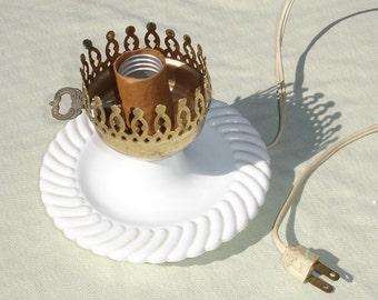 Vintage Milk Glass Lamp - Vintage Decor