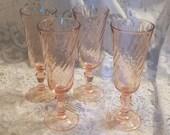 Delightful Arcoroc Rosaline Pink Swirl Champagne Flutes (13)