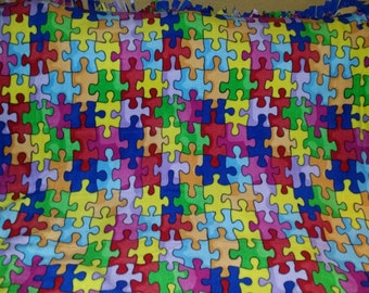 Autism Awareness Puzzle Pieces Fleece Tie Blanket