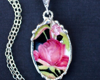 Necklace, Broken China Jewelry, Broken China Necklace, Oval Pendant, Black and Pink Rose China, Sterling Silver, Soldered Jewelry