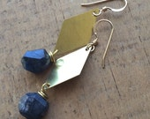 brass diamond and navy blue labradorite earrings