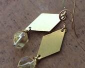 brass diamond and lemon quartz earrings