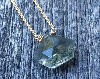 Delicate green pentagon picture quartz briolet necklace