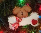 DOG PUPPY BONE Ornament pet decor lovers Christmas gift xmas wood wooden