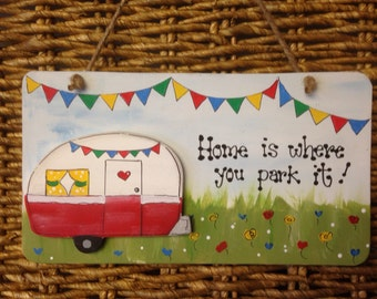 RV CAMPER Sign Home Is Where You Park It Wooden Wood Crafts CARAVAN