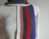 Scarf unisex, hand crocheted very soft and warm,blend wool with fringes