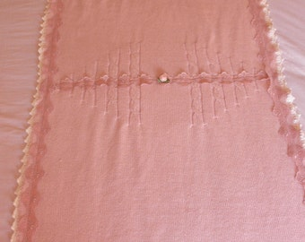 Pink-white bay blanket, baby girl blanket,new born blanket,hand knitted,cotton yarn,with crochet edge,pink lace
