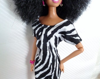 Animal Print Dress for Barbie, Curvy Barbie or similar fashion doll