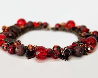 Red and bronze Swarovski charm bracelet