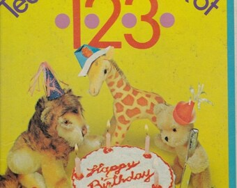 ON SALE Teddy Bear's Book of 1 2 3  Counting Book -  Vintage Big Golden Book - 1969 American edition