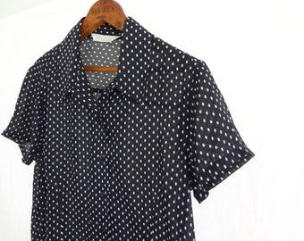 Vintage Polka Dot Blouse Top 90s Black and White Work Wear Office Summer Short Sleeves Small