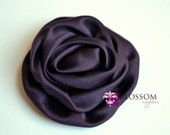 EGGPLANT Flowers - The Elizabeth Collection - Large Satin Ruffled Rolled Rossettes - DIY Flower Headbands - Autumn Dark Purple Blossoms Fall