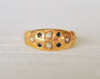 1800's Victorian / Antique Seed Pearl and Sapphire 15k yellow gold ring