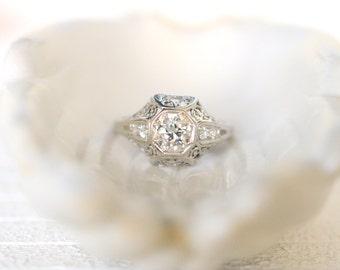 SALE- Art Deco 1920's / 0.65 carat Platinum Old European cut Diamond ring / Engagement ring Wedding ring