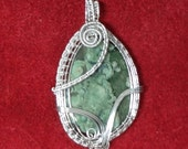 Green Sea Sediment Jasper Wire Woven & Wrapped Pendant