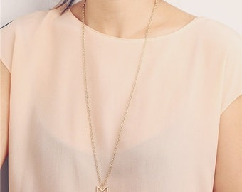 ON SALE Delicate simple everyday long gold chevron necklace
