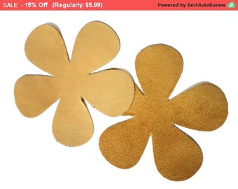 SALE 10 PCS Yellow  Leather Flower Floral Patch Applique For Sew Craft