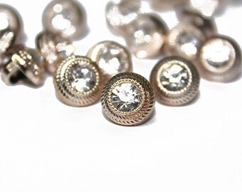 Gold Covered Acrylic Rhinestone Buttons for Sewing and Accessories 30 pcs.
