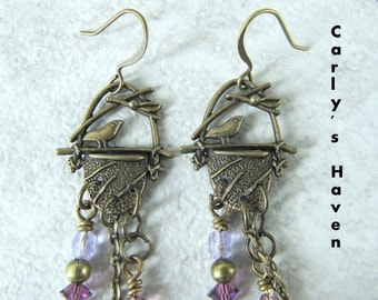 Handmade brass bird nest dangle earrings with purple Swarovski crystals, pearls, ready to ship, gifts for women, gift wrapped, made in MT