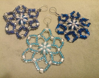 Set of 3 handcrafted ornament suncatcher window decor car charm in Shades of Blue