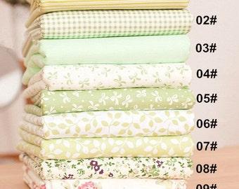 "Green Bundle Green Cotton Fabric Bundle- Green Fabric Fat Quarter Bundle, 9 Fat Quarters Pieces each 9""X9""(24x24cm) (QT671-S)"