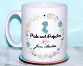 Jane Austen Mug, Pride and Prejudice Mug, Mr Darcy's Proposal, In Vain I have Struggled... Quote, Floral Mug, Romantic, 2-sided design