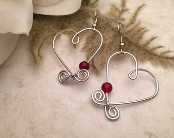 Aluminum Wire Earrings Heart Red Beads