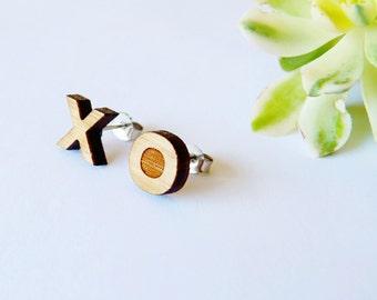 XO earrings - XO studs - eco studs - romantic gift - wooden gift for girlfriend - wife - mismatched earrings