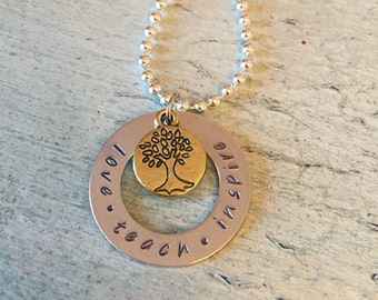 Teacher Gift. Teacher stamped necklace. Personalized Gift. Love. Teach. Inspire.  Giving Tree. Hand Stamped. Teacher appreciation