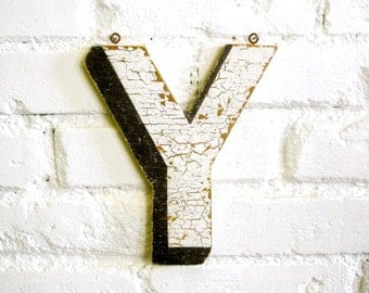 "Vintage Carnival Letter ""Y"" Antique Original Old Hand Painted Sign Letter Primitive Shabby Chic Folk Art Circus Wood Sign Letter"