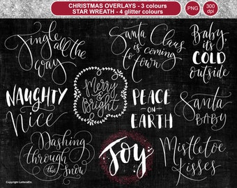 Christmas Overlays ~ Seasonal Greetings ~ Hand-drawn Holiday Editable Digital Stamp ~ Scrapbooking Craft Projects ~ Holiday Cardmaking