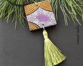 Moroccan Style Wood Tassel Ornament - Ebony Gold Purple Lime Tassel Decoration - Bohemian Decor - Hand Painted Ornament