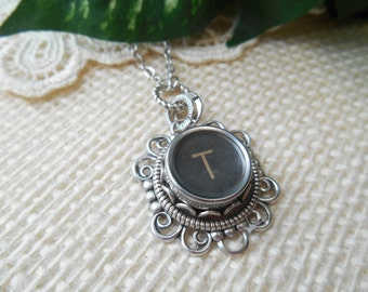 Typewriter Key Jewelry ~ Initial T ~ Personalized Letter Necklace