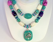SALE! Horseshoe double strand cowgirl chunky necklace and earring set, turquoise, pink white and purple western necklace set boho pendant