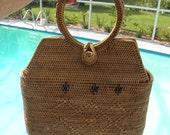 15% OFF Woven Straw Basket Double Handle Purse, Vintage Vanity Purse