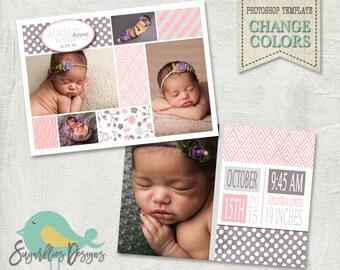Newborn Baby Announcement PHOTOSHOP TEMPLATE - Baby Girl 015