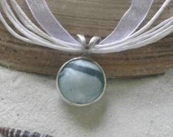 Beautiful Aqua and White Lake Erie Beach Glass Marble Pendant
