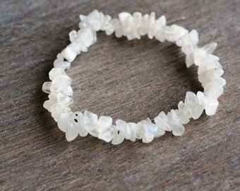 Rainbow Moonstone Stretchy String Bracelet B126